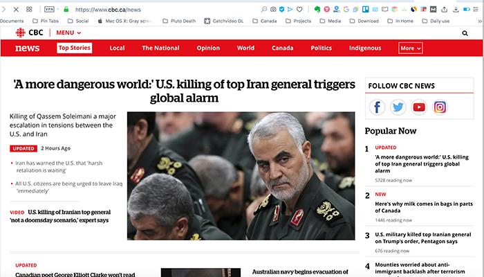 بازتاب کشته شدن قاسم سلیمانی در رسانههای کانادا