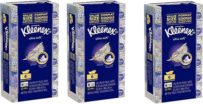 خرید جذاب هفته - دستمال کاغذی Kleenex Ultra Soft Facial Tissues, 6 Flat Boxes