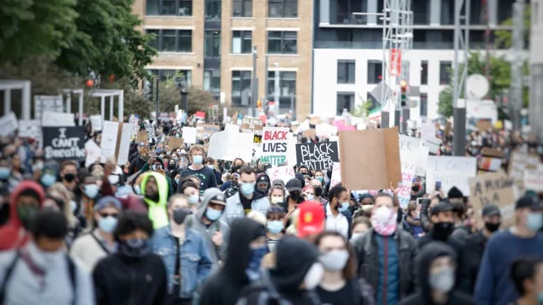راهپیمائی ضد نژادپرستی در شهرهای بزرگ کانادا، تشنج در مونترال